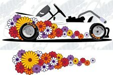 Daisy flowers go kart race car vinyl graphic decal wrap
