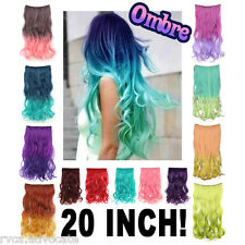 "Pastel Ombre Gradient Mermaid Candy Dip Dye 20"" Wavy Hair Wig Clip-in Extensions"