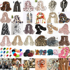 1x Women Girls Leopard Skull Heart Bowknot Animal Scarf Long Crinkle Wrap Shawl