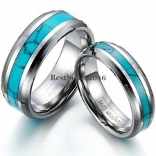 8mm / 6mm Comfort Fit Turquoise Inlaid Tungsten Band Engagement Wedding Ring