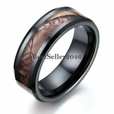 8mm Black Ceramic Ring Camouflage Forest Center Men's Anniversary Wedding Band