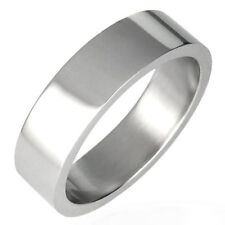 Urban Male Solid Silver Stainless Steel Plain Band 6mm Ring For Men