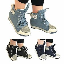 WOMENS LADIES wedge heel high top diamente trainers ankle boots