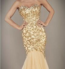 2014 New Gold Long Mermaid Beads Prom Dress Ball Gown Evening Wedding Dresses