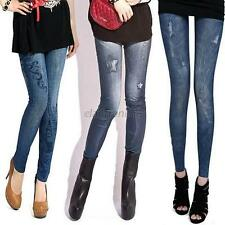 Stylish Womens Casual Stretch Slim Fit Leggings Faux Jeans Denim Pencil Pants