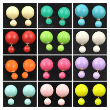 Resin Design Fashion 1 Pair Man Made Double Pearl Earrings Ear Studs 16Colors