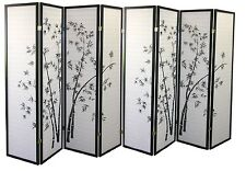 Oriental Black Bamboo Tree Screen Privacy Folding Room Divider 3|4|6|8Panels