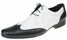 Red Tape Black White Real Leather Pointy Toe Brogue Mens Spats Gangster Shoes