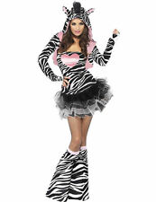 Ladies Fever Zebra Animal Zoo Festival Party Outfit Fancy Dress Costume