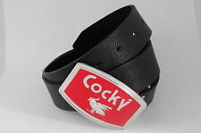 "Red Cocky Rooster Orgulous cock Metal Buckle Faux PU Leather Belt Waist 26""- 46"""