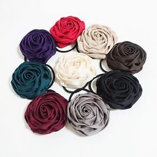Handmade Satin Fabric Simple Rose Elastic Band Ponytail Holder