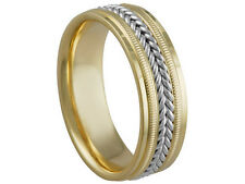 2TONE 18K YELLOW GOLD PLATINUM BRAIDED 7mm COMFORT FIT WEDDING BAND