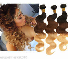 5Bundle 100% Virgin Brazilian Ombre 1b33#27# 3-Tone Human Hair Weave Extension