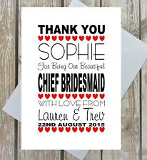PERSONALISED WEDDING THANK YOU CARD  BRIDESMAID FLOWER GIRL MAID OF HONOUR