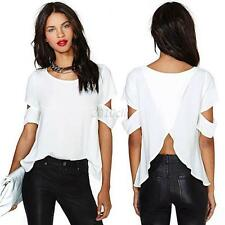 Women Chiffon Tops Sexy Cross Back Loose Blouse Cut-out Short Sleeve Tops Shirt