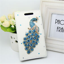 Handmade Diamonds blue Peacock PU Leather Wallet Slot flip cover case for Nokia