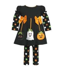 Bonnie Jean Girl Cat Ghost Pumpkin Halloween Fall Dress Leggings Outfit 3-6 MO