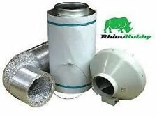 "Rhino Hobby Kit 100mm 4"" Carbon Filter, 5M Acoustic Ducting, RVK Fan + clips"