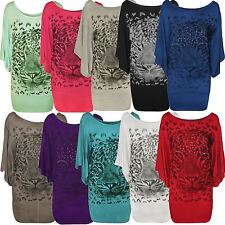 New Womens Plus Size Sequin Tiger Print Kimono Batwing Sleeve Tops 14-28