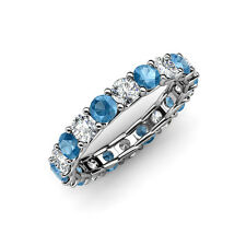 Blue Topaz & Diamond (SI2-I1, G-H) Eternity Band 2.63 ct tw-3.25 ct in 14K Gold