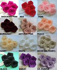 "2"" Wide Satin Polyester Ribbon Roses Head-Lots 12 pcs- Color Choice"