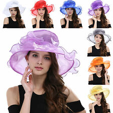 Womens Vintage Kentucky Derby Sun Hat Wide Brim Wedding Dress Church Hats