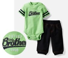 """Carter's baby boy Green """"Cutest little brother ever"""" bodysuit pant 2pc set"""