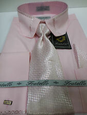 Mens Lovely Pink French Cuff Dress Shirt, Tie & Hanky New Victorian Style Collar