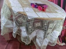 "68"" x68"" Vintage hand embroidery full lace Crochet linen Table cloth Tablecloth"
