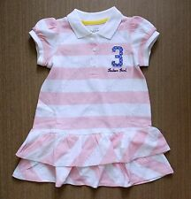 H&M baby toddler girl pink striped shirt sleeve polo layer dress