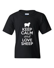 Keep Calm And Love Sheep Animals Novelty Statement Youth Kids T-Shirt Tee