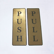 Push and Pull Front  Sticker  Door Sign Laser Engraved Look GOLD set