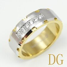 DG men's Stainless Steel Two-Tone Eternity Channel-Set CZ Band Rings,9 10,11,12