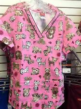 84724 EDS DICKIES SCRUB TOP  VET BEAR CATS DOGS CUDDLE BUDDIES MISSY FIT CUBU