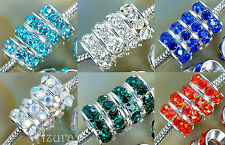 10mm Crystal Rhinestone Rondelle Spacer Beads, fit European Charm Bracelets
