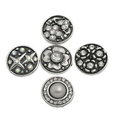 Wholesale Lots Snap Buttons Rhinestone Fit Snap Bracelets Silver Tone Mixed