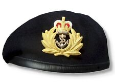RN ROYAL NAVY OFFICER BERET & MOD METAL CAP BADGE HIGH QUALITY 53 - 62m HMS