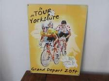 TOUR YORKSHIRE MAP CYCLING LARGE, MED, SMALL VINTAGE STEEL WALL PLAQUE TIN METAL