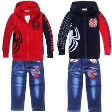 New Spider Man Clothes Kids Boys Outfits Sets Hooded Jacket Coat + Jeans Pants