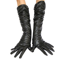 ladies Opera Long Genuine Soft Nappa Faux Leather Ruga Gloves Black