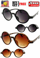 BLACK BROWN TORTOISE ROUND PLASTIC FRAME MEN WOMEN UNISEX SUNGLASSES SHADES