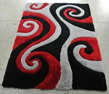 3D SHAGGY Modern Contemporary Abstract Colorful Swirls  Area Rug # 805