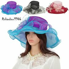 Women's Noble Kentucky Derby Hat Organza Wide Brim Floral Event Dress Church Hat
