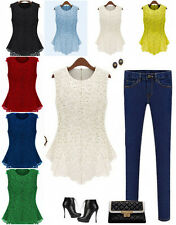 Sexy Women Scoop Neck Lace Blouse Sleeveless Casual Shirt Vest Doll Chiffon Tops