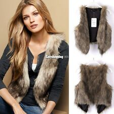 Women Fashion Faux Fur Vest Sleeveless Coat Outerwear Long Hair Jacket Waistcoat