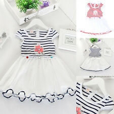 New Cheap Chiffon Tutu Princess Gauze Party Dressy Striped Kids Girls Dress