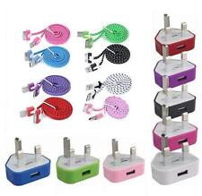 Color USB Mains Charger+Braided SYNC LEAD Cable for iPhone 3GS 4 4S IPOD iTouch
