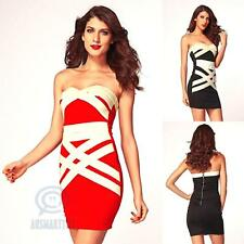 Sz 8 10 12 Sexy Mini Strapless Bodycon Gold Bandage Casual Club Wear Party Dress