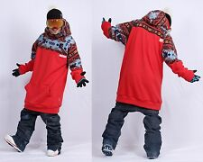New arrival December long tall hoodie ski snowboard sports-gaia red