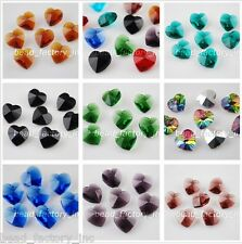 Bulks 14mm Bracelet Faceted Glass Crystal Heart-Shaped Beads Loose Spacer Crafts